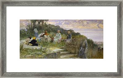 The Sermon On The Mount Framed Print by Domenico Morelli
