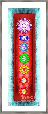 The Seven Chakras - Series 6 Artwork 3 Ice Blue Framed Print by Dirk Czarnota