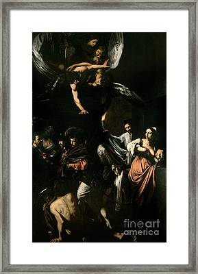 The Seven Works Of Mercy Framed Print by Caravaggio
