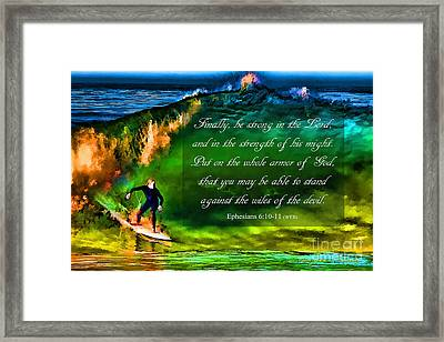 Framed Print featuring the photograph The Shadow Within With Bible Verse by John A Rodriguez