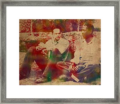 The Shawshank Redemption Movie Inspired Watercolor Portrait Of Tim Robbins And Morgan Freeman On Worn Distressed Canvas Framed Print by Design Turnpike