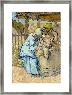 The Sheep-shearer, After Millet Framed Print by Vincent Van Gogh