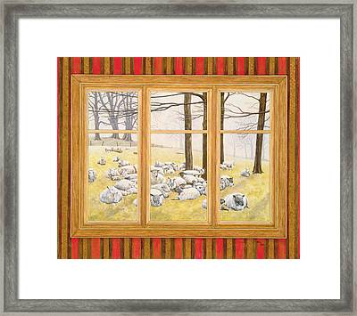 The Sheep Window Framed Print