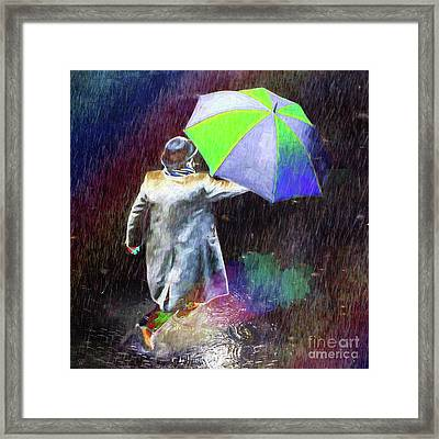 The Sheer Joy Of Puddles Framed Print