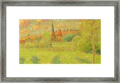 The Shepherd And The Church Of Eragny Framed Print by Camille Pissarro
