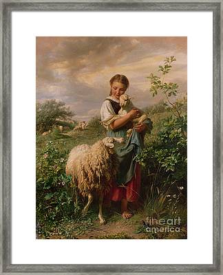 The Shepherdess Framed Print by Johann Baptist Hofner