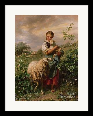 Shepherdess Framed Prints