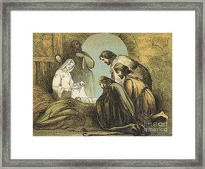The Shepherds Finding Jesus Framed Print by English School