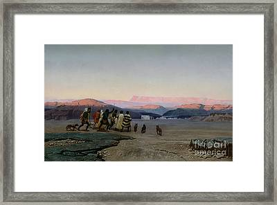 The Shepherds Led By The Star Arriving At Bethlehem Framed Print by Octave Penguilly lHaridon