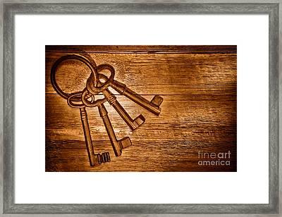The Sheriff Jail Keys - Sepia Framed Print