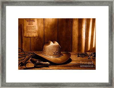 The Sheriff Office - Sepia Framed Print by Olivier Le Queinec