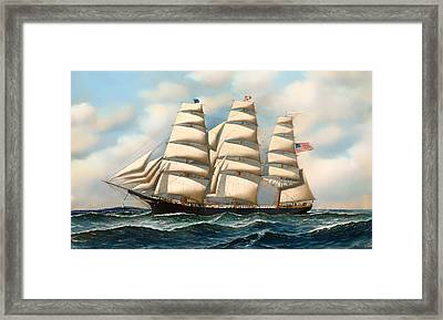 The Ship 'young American' At Sea Framed Print by Mountain Dreams