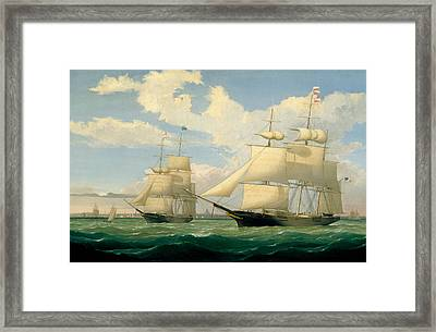 The Ships Winged Arrow And Southern Cross In Boston Harbor Framed Print