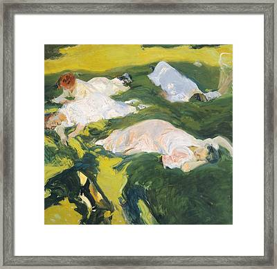 The Siesta Framed Print by Joaquin Sorolla y Bastida