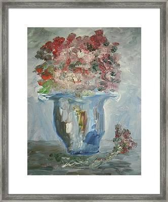 The Silver Swirl Vase Framed Print by Edward Wolverton