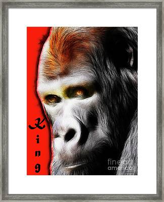 The Silverback Gorilla . King Of The Jungle Framed Print by Wingsdomain Art and Photography