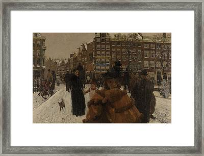 The Singel Bridge At The Paleisstraat In Amsterdam, 1896 Framed Print