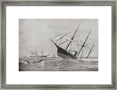 The Sinking Of Css Alabama During The Framed Print