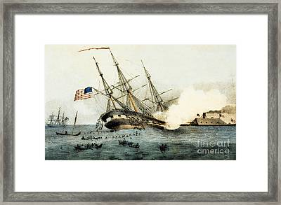 The Sinking Of The Cumberland By The Iron Clad Merrimac Framed Print by American School
