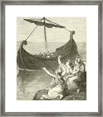 The Sirens Imploring Ulysses To Stay Framed Print