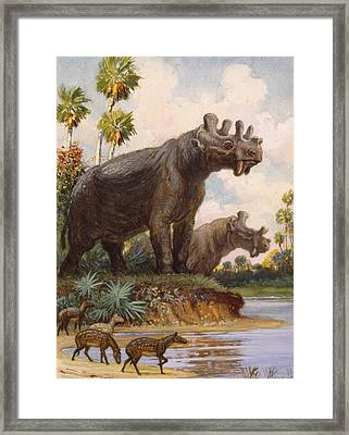 The Six-horned Uintatheres Thrived Framed Print by Charles R. Knight