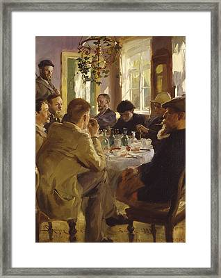 the Skagen Painters eating lunch at Brndum Framed Print