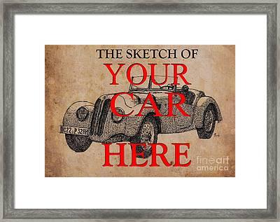 The Sketch Of Your Own Car, Ink On Vintage Background Framed Print