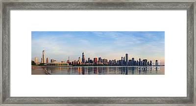 The Skyline Of Chicago At Sunrise Framed Print