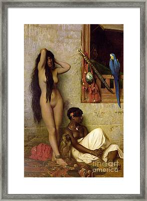 The Slave For Sale Framed Print by Jean Leon Gerome