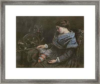 The Sleeping Embroiderer Framed Print by Gustave Courbet
