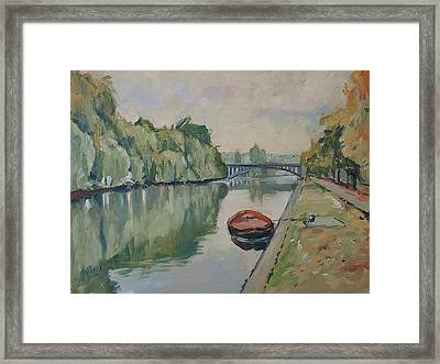 The Small Boat Along The Quai Of Halage Vise Framed Print