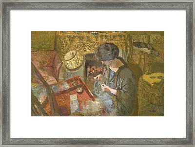 The Small Drawing-room - Mme Hessel At Her Sewing Table Framed Print by Edouard Vuillard