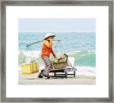 Framed Print featuring the digital art The Smiling Vendor by Cameron Wood