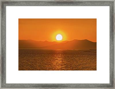 The Smoke From A Forest Fire Gave Us This Tangerine Sky Over 11-mile Reservoir State Park, Colorado. Framed Print