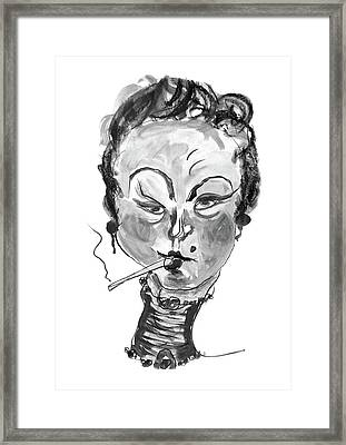 Framed Print featuring the mixed media The Smoker - Black And White by Marian Voicu