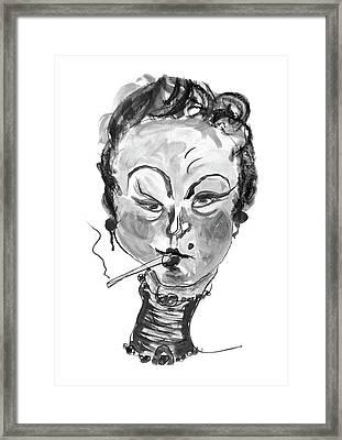 The Smoker - Black And White Framed Print