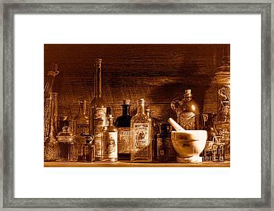 The Snake Oil Shop - Sepia Framed Print