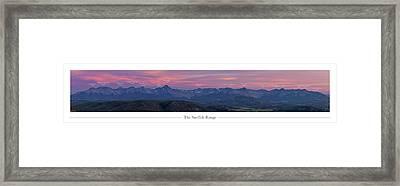 The Sneffels Range With Peak Labels Framed Print by Aaron Spong