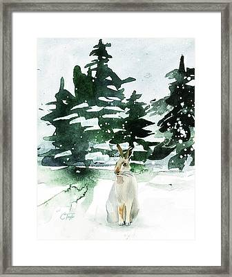 Framed Print featuring the painting The Snow Bunny by Colleen Taylor