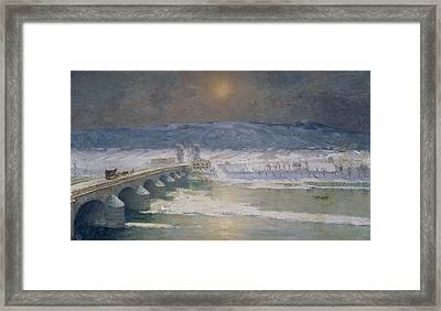 The Snow In The Auvergne Framed Print by Albert Charles Lebourg