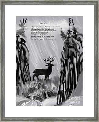 The Snow-wind Weeps - Illustrated Poem Age 17 Framed Print by Dawn Senior-Trask