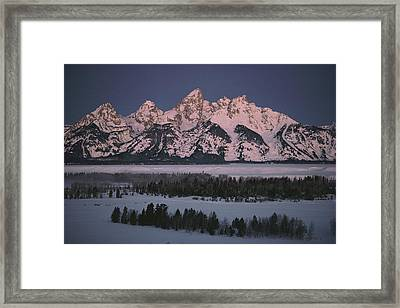 The Snowcapped Grand Tetons Framed Print by Dick Durrance Ii