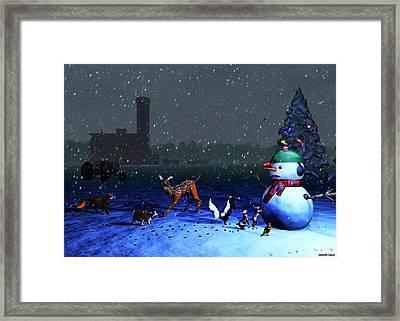 The Snowman's Visitors Framed Print by Ken Morris