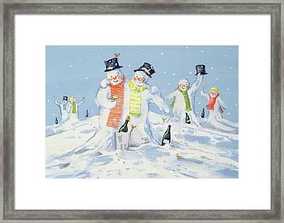 The Snowmen's Party Framed Print by David Cooke