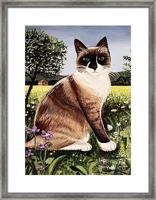 The Snowshoe Cat Framed Print by Elizabeth Robinette Tyndall