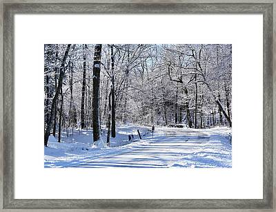 The Snowy Road 1 Framed Print