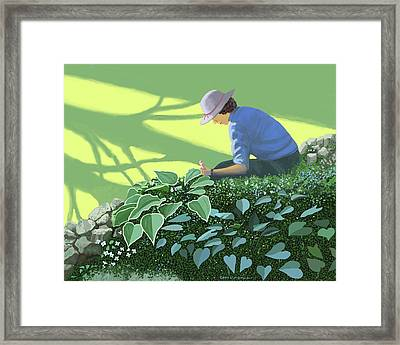 The Solace Of The Shade Garden Framed Print by Gary Giacomelli