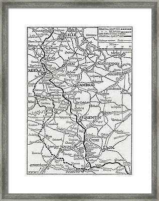 The Somme And The Ancre. Map Shows Framed Print by Vintage Design Pics
