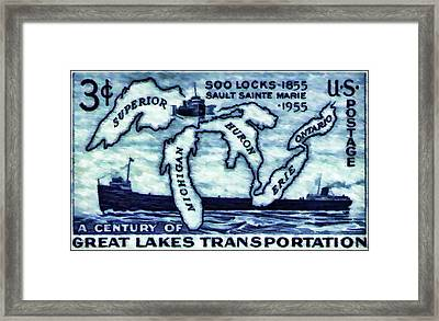 The Soo Locks Stamp Framed Print by Lanjee Chee
