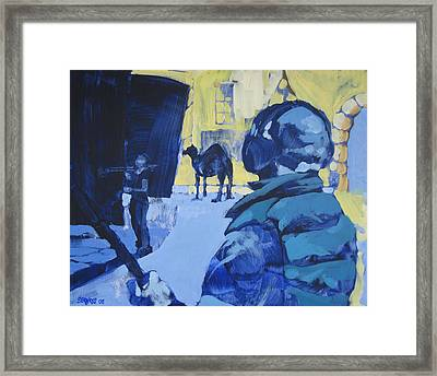 the Sound Man and the Camel Framed Print by Amy Bernays